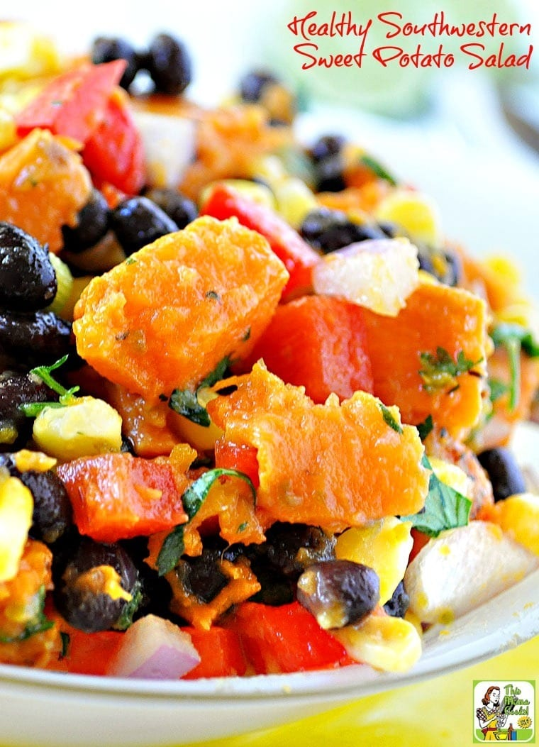 Looking for an easy cold sweet potato salad recipe? Try this Healthy Southwestern Sweet Potato Salad recipe! Click to get this ideal sweet potato salad recipe for summer bbqs and potluck parties.