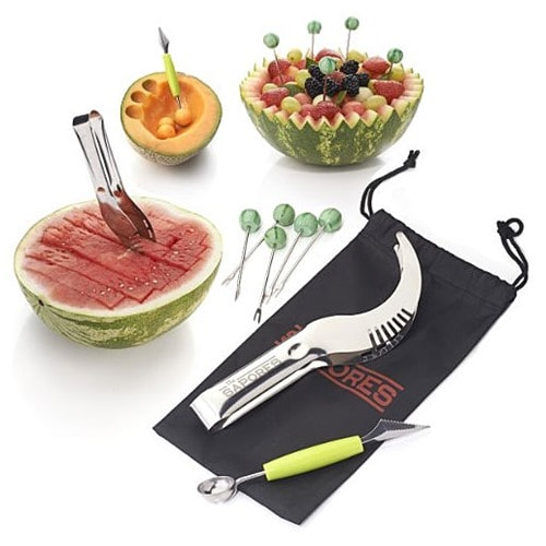 Sapores MelonEssentials set has a melon cutter/slicer/corer/server knife, a melon baller scoop , 5 adorable watermelon appetizer forks, and a storage pouch.