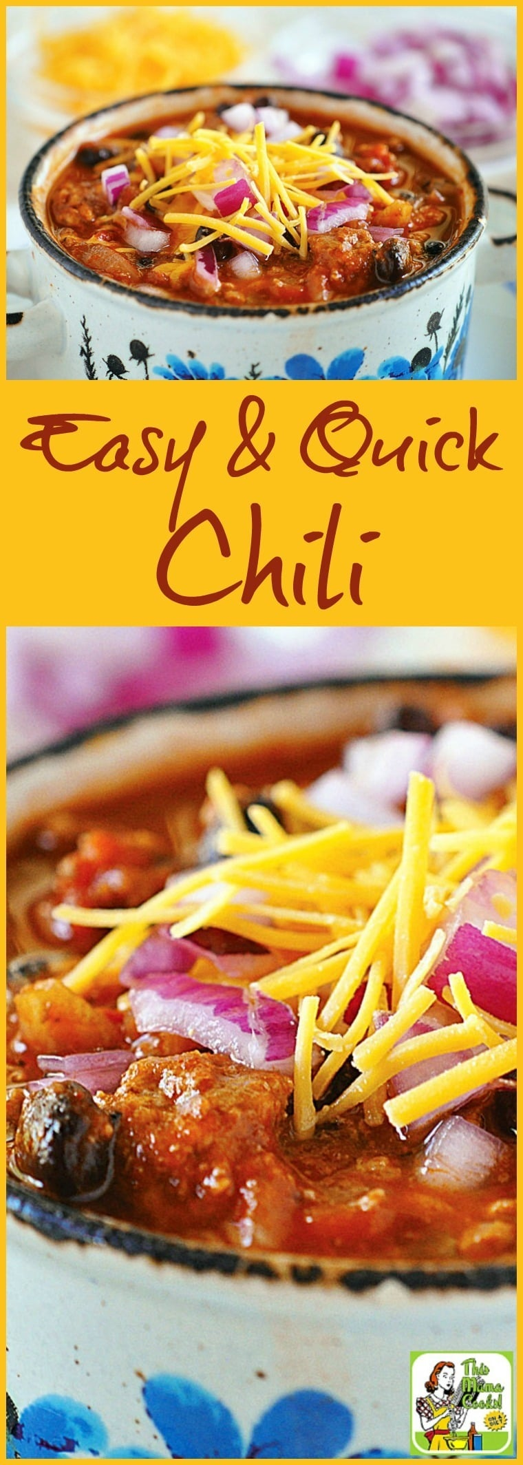 This Easy & Quick Chili is perfect for Halloween, fall or winter entertaining and dinners. Comes with a slow cooker option. Click to get this easy, quick and gluten free chili recipe. #recipes #easy #recipeoftheday #healthyrecipes #glutenfree #easyrecipes #chili #chilirecipes #slowcooker #slowcookerrecipes #crockpot #crockpotrecipes