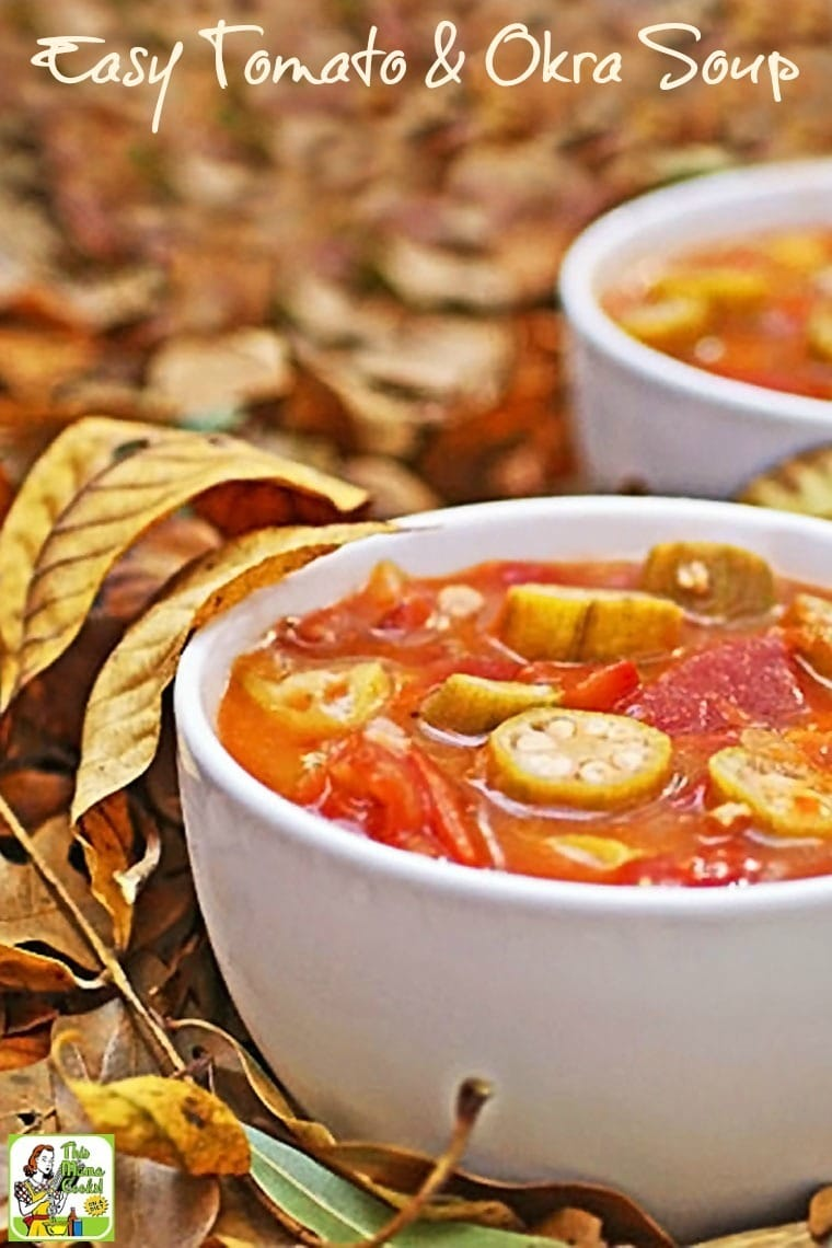 This healthy Easy Tomato & Okra Soup recipe is perfect for fall. So delicious that even the kids won't mind all the vegetables in this easy to make soup recipe.