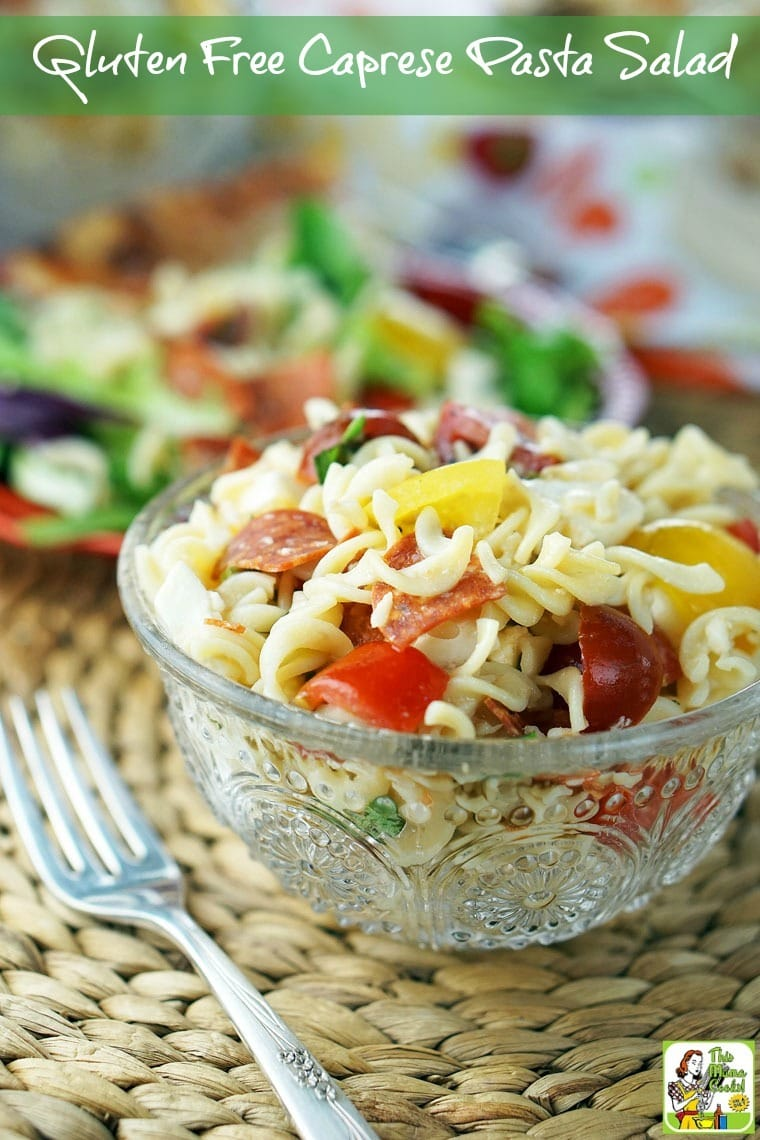 Easy to make Gluten Free Caprese Pasta Salad is ideal for busy weeknight dinner. Add baby greens lettuce for a more grownup healthy salad recipe. Click here to get the gluten free recipe.