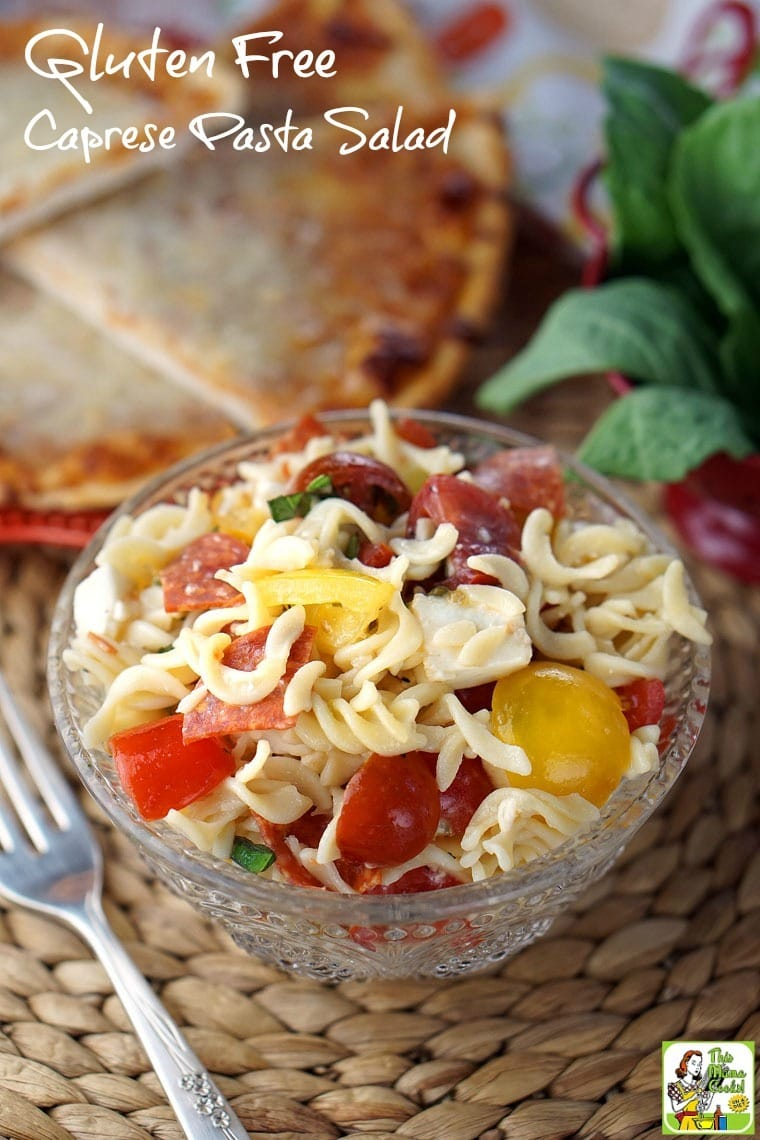 Easy to make Gluten Free Caprese Pasta Salad is ideal for busy weeknight dinner. And your kids will love it! Click here to get the gluten free salad recipe.