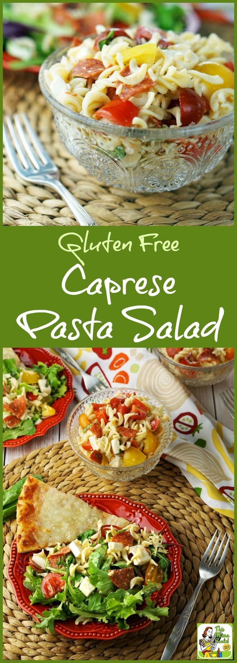 Easy to make Gluten Free Caprese Pasta Salad is ideal for busy weeknight dinner. Serve it with gluten free pizza! Add baby greens lettuce for a more grownup healthy salad recipe. Click here to get the gluten free pasta salad recipe.