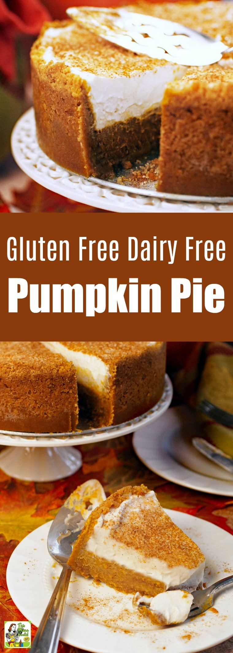 This Gluten Free Dairy Free Pumpkin Pie is a must serve Thanksgiving dessert. Dairy-free pumpkin pie made with coconut cream & gluten-free cookie crust. Tips on making it into a sugar-free & a vegan pumpkin pie recipe. #recipes #easy #recipeoftheday #glutenfree #easyrecipe #easyrecipes #glutenfreerecipes #pumpkindessert #pumpkinrecipe #pumpkin #pumpkinspice #halloween #thanksgiving #pie #baking #dairyfree #sugarfree #desserts #dessertrecipes #veganfood #vegan #veganrecipes #vegandesserts