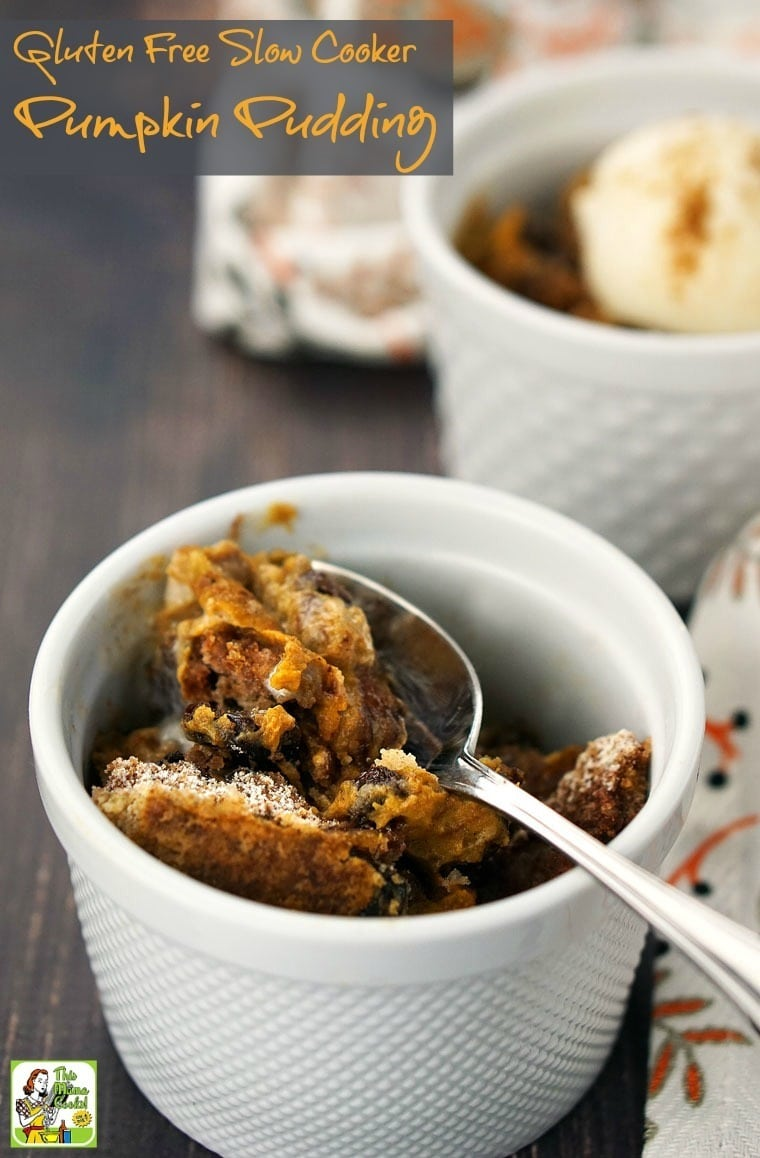 You'll love how easy this Gluten Free Slow Cooker Pumpkin Pudding recipe is to make.  Click to get this delicious, gluten free, dairy free, and vegan slow cooker pumpkin dessert recipe.