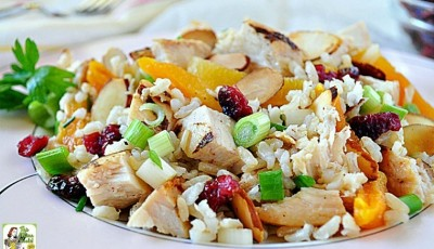 Looking for healthy turkey leftover recipes? Try this easy to make Turkey Apricot Rice Salad! It's a gluten free salad recipe that's a great way to use Thanksgiving leftovers. It's also diabetic friendly.