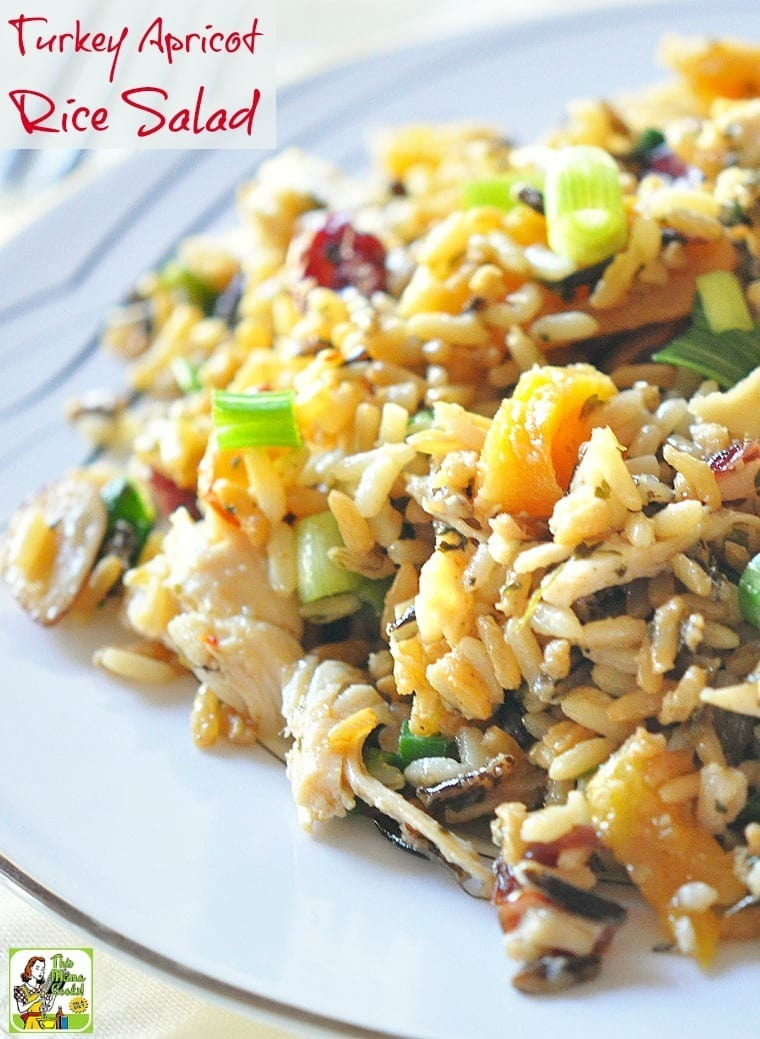 Cooking Thanksgiving leftovers? Then you'll love easy Thanksgiving leftover recipes like this Turkey Apricot Rice Salad! It's a gluten free salad recipe that's a handy way to use Thanksgiving leftovers. It's also diabetic friendly. #recipe #easy #recipeoftheday #healthyrecipes #glutenfree #easyrecipes #salad #turkey #thanksgiving #apricot #rice #diabeticfriendly #healthy #leftovers #thanksgivingleftovers