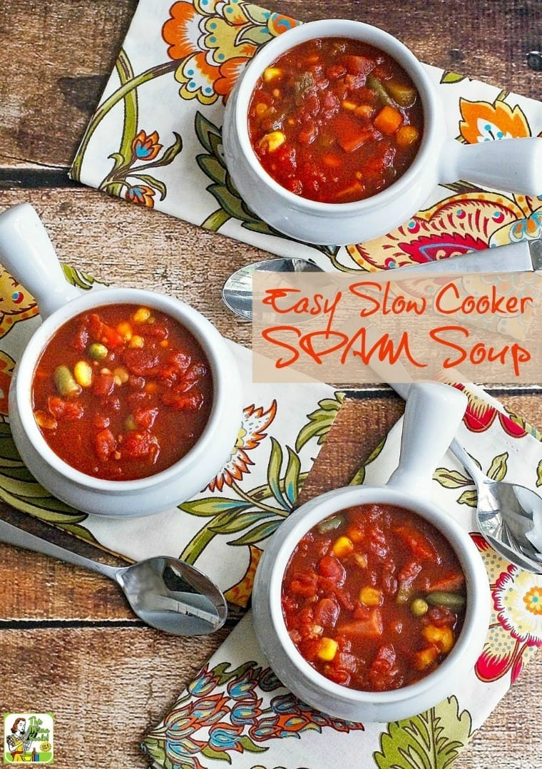Learn how to open a few cans to make Easy Slow Cooker SPAM Soup. Click to get this delicous and healthy soup recipe.