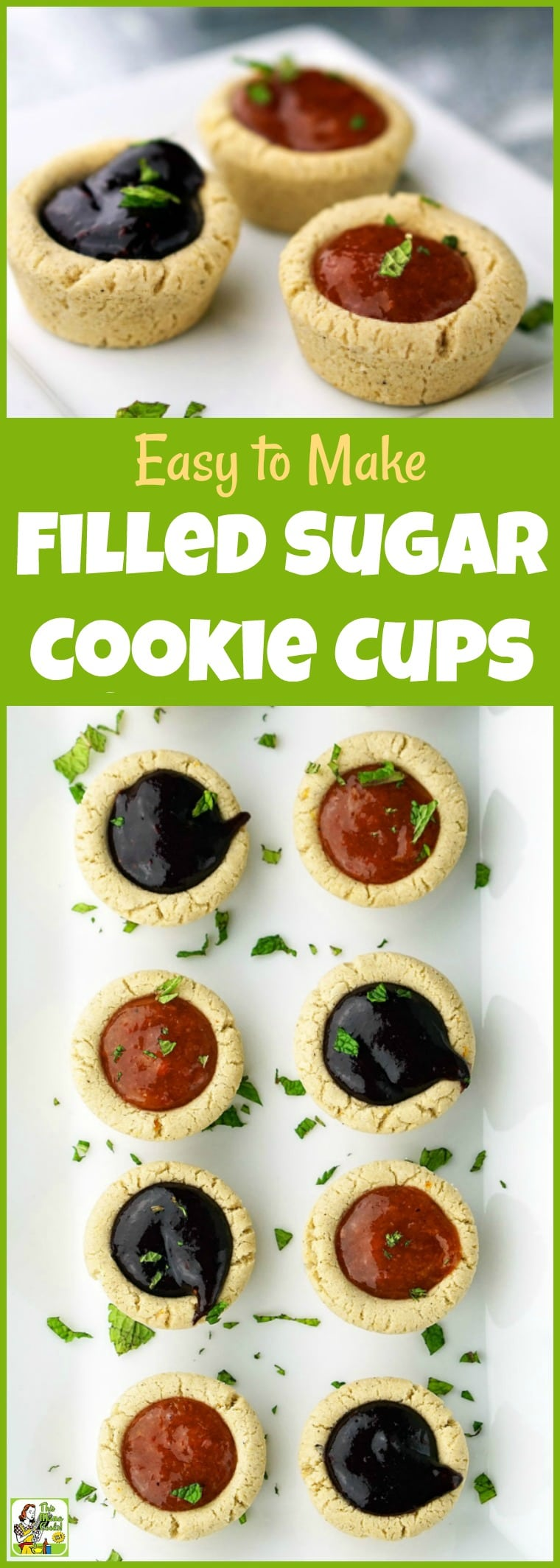 You\'ll love these Easy to Make Filled Sugar Cookie Cups with a gluten free option. Perfect for holiday cookie exchanges or Christmas parties. #recipe #easy #recipeoftheday #healthyrecipes #glutenfree #easyrecipes #cookies #Christmas #cookieexchanges #cookieswap #sugarcookies #glutenfreecookies #baking