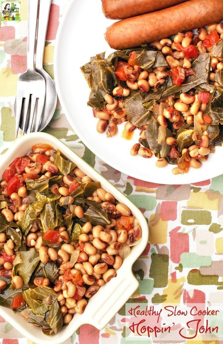 Need a healthy hoppin john recipe for New Year's Day? Click to get the recipe for this hoppin john recipe from This Mama Cooks! On a Diet. This easy recipe can be make in your slow cooker with canned or frozen black eyed peas!