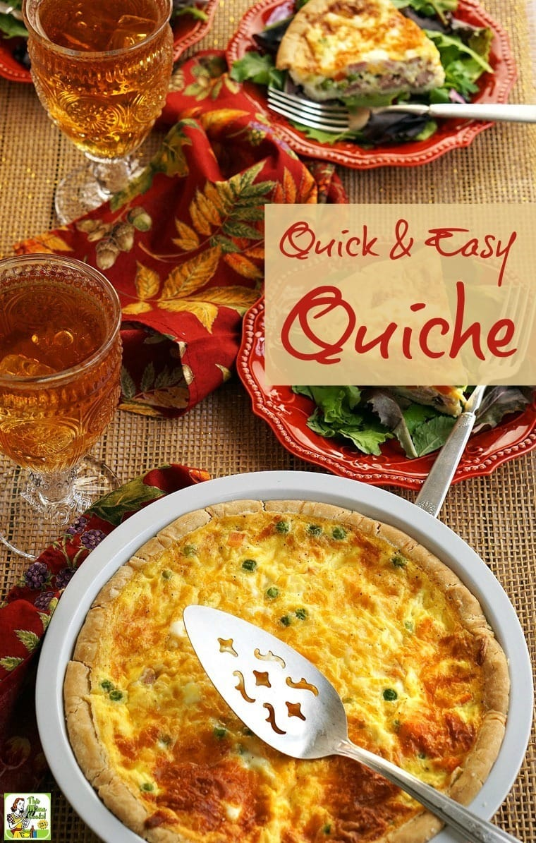 Servings of quiche with a glasses of iced tea, salad, and colorful napkins