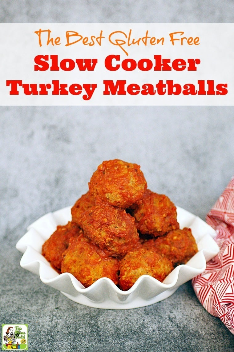 Looking for a slow cooker meatball recipe that's also gluten free? Click here to get the Best Gluten Free Slow Cooker Turkey Meatballs Ever!