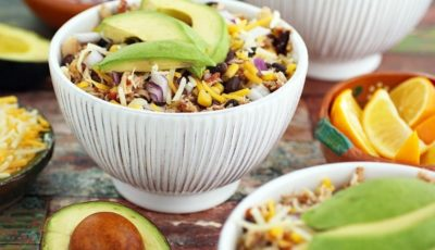 This Crock-Pot Mexican Shredded Chicken with Black Beans & Corn recipe is perfect for a busy weeknights or big game watching parties. Click to get this slow cooker shredded chicken taco recipe or shredded chicken burrito recipe. Makes great burrito bowls for your bowl watching party!