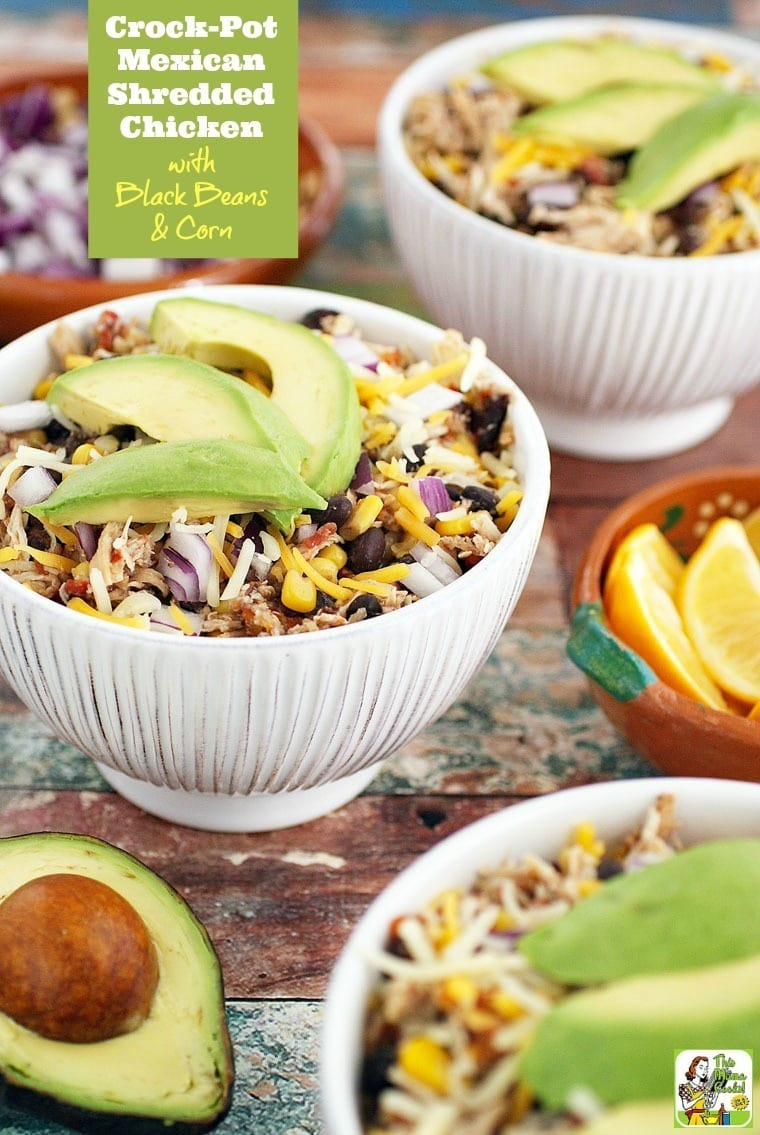 Looking for an easy weeknight dinner recipe? Or a easy to make slow cooker party recipe? Click to get this Crock-Pot Mexican Shredded Chicken with Black Beans & Corn.