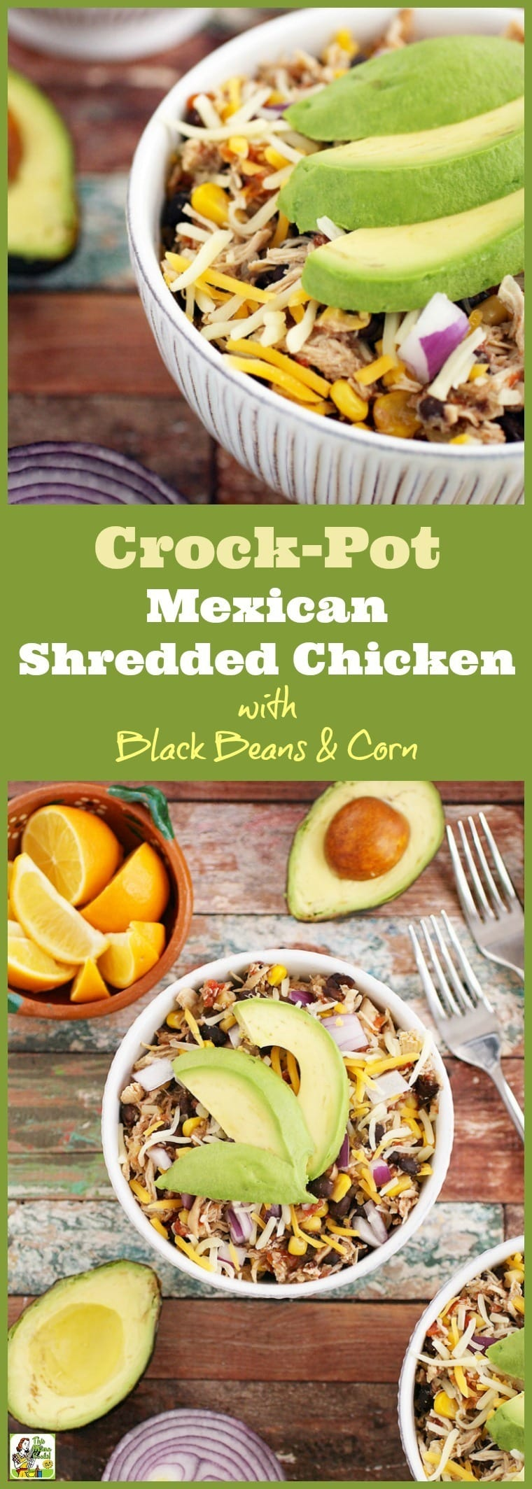 This Crock-Pot Mexican Shredded Chicken with Black Beans & Corn recipe is perfect for busy weeknights. This slow cooker shredded chicken taco recipe or shredded chicken burrito recipe makes great burrito bowls for parties, too! #recipes #easy #recipeoftheday #glutenfree #easyrecipe #easyrecipes #glutenfreerecipes #dinner #easydinner #dinnerrecipes #dinnerideas #chicken #chickenfoodrecipes #chickenrecipes #slowcooker #slowcookerrecipes #crockpot #crockpotrecipes