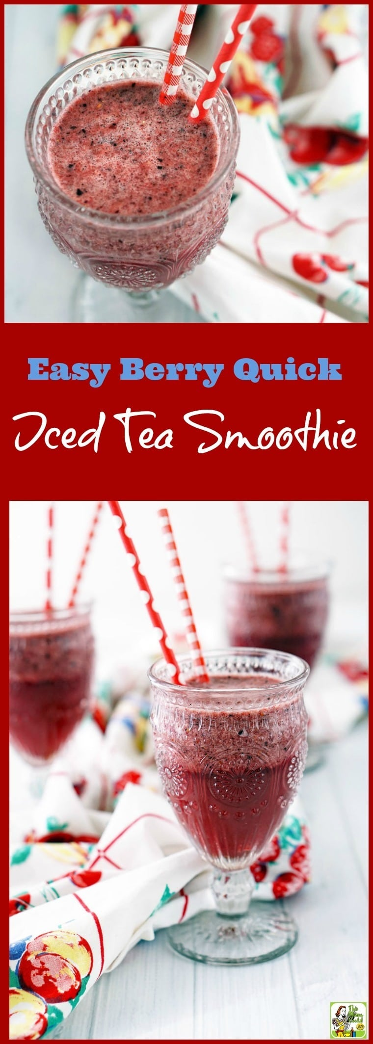 This Easy Berry Quick Iced Tea Smoothie recipe is a delicious way to jump-start the day and get energized. Make this easy to make healthy frozen berry smoothie recipe that\'s naturally gluten free and dairy free. #recipe #easy #recipeoftheday #healthyrecipes #glutenfree #easyrecipes #breakfast #snacks #lowcaloriesnacks #smoothies #tea #berries #icedtea #smoothiesrecipes #healthydrinks #healthydrinksrecipe