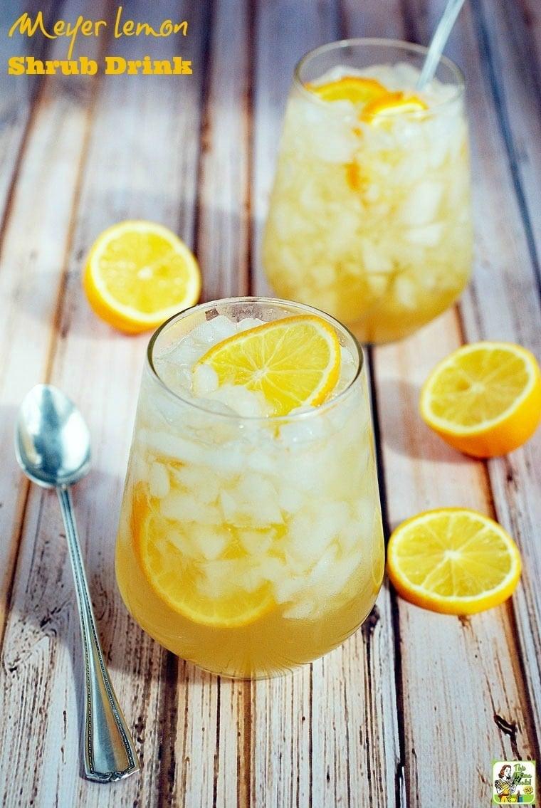 Got lemons? Make this Meyer lemon shrub drink recipe! Click to get this easy to make cocktail mixer recipe.