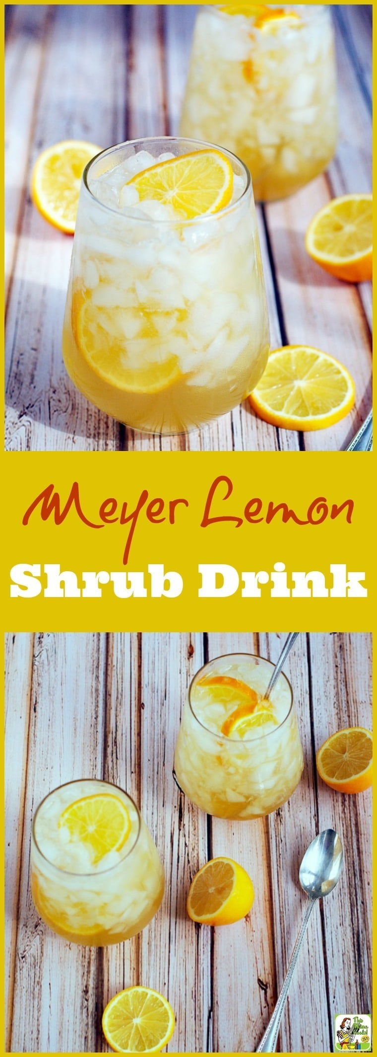 Got lemons? Make this Meyer lemon shrub drink recipe! You\'ll love this sugar free cocktail and mocktail drink mixer recipe. It\'s easy to make, perfect for low calorie, skinny cocktails, too! #cocktails #drinks #drinking #lemons #sugarfree
