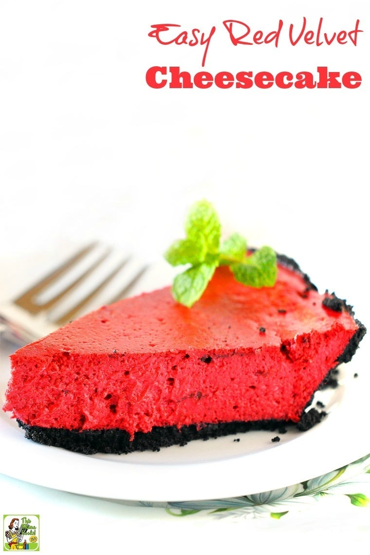 Looking for an Easy to Make Red Velvet Cheesecake recipe for Valentine's Day? Click to get this simple and healthy dessert recipe. Also works for Christmas, Fourth of July, Memorial Day, Labor Day, picnics, parties, and barbecues. Can be frozen, too. Gluten free and dairy free options. Diabetic friendly.