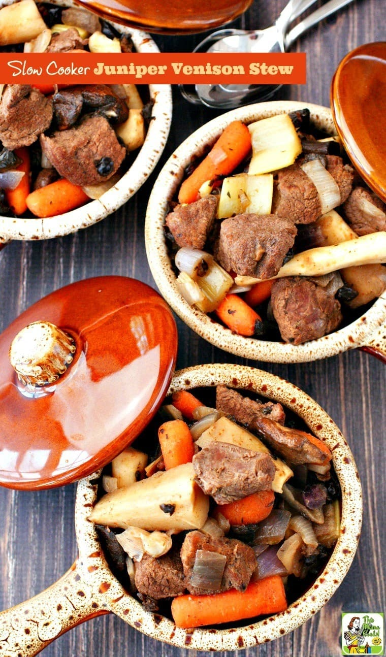Looking for an easy crock-pot recipe that uses venison? Try this Slow Cooker Juniper Venison Stew recipe. It's gluten free, filled with vegetables, perfect for weeknight dinners, and easy to make. #slowcooker #crockpot #stew #venison #beef #meat #dinner #easydinner #recipe #easy #recipeoftheday #healthyrecipes #glutenfree #easyrecipes