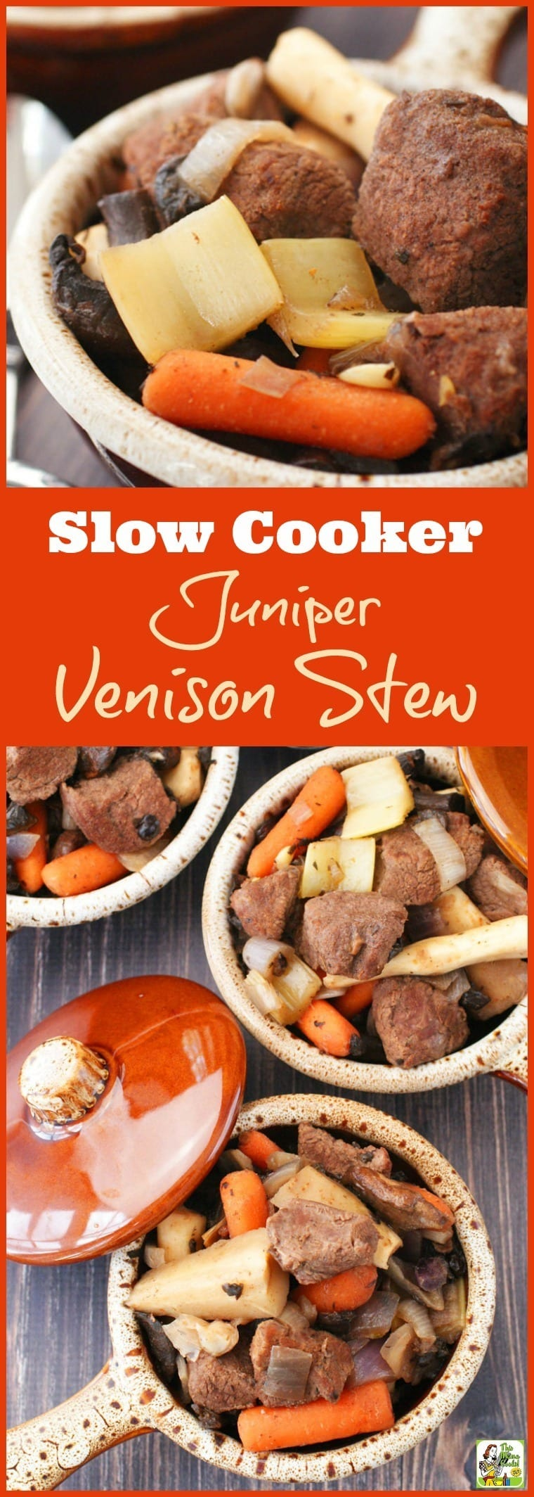 Looking for an easy crock-pot recipe that uses venison? Try this Slow Cooker Juniper Venison Stew recipe. It\'s gluten free, filled with vegetables, perfect for weeknight dinners, and easy to make. #slowcooker #crockpot #stew #venison #beef #meat #dinner #easydinner #recipe #easy #recipeoftheday #healthyrecipes #glutenfree #easyrecipes
