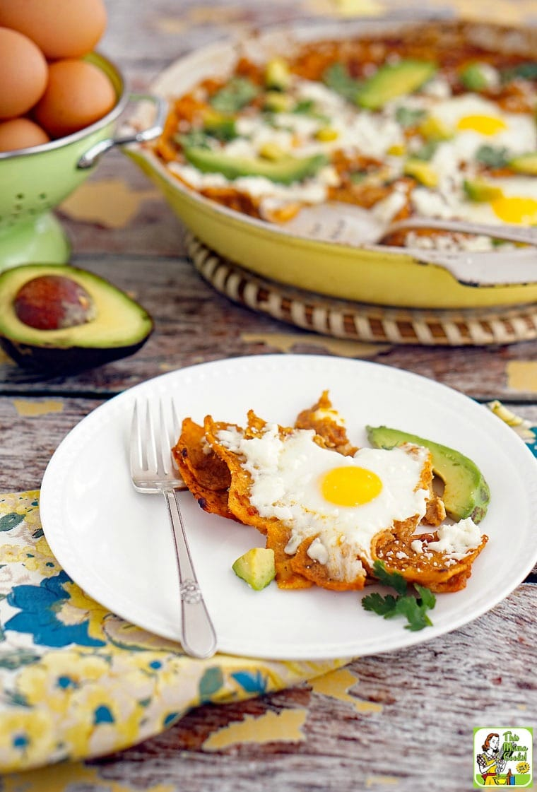 A breakfast serving of chilaquiles with an egg and avocados. Skillet of chilaquiles in the background with a serving spoon.