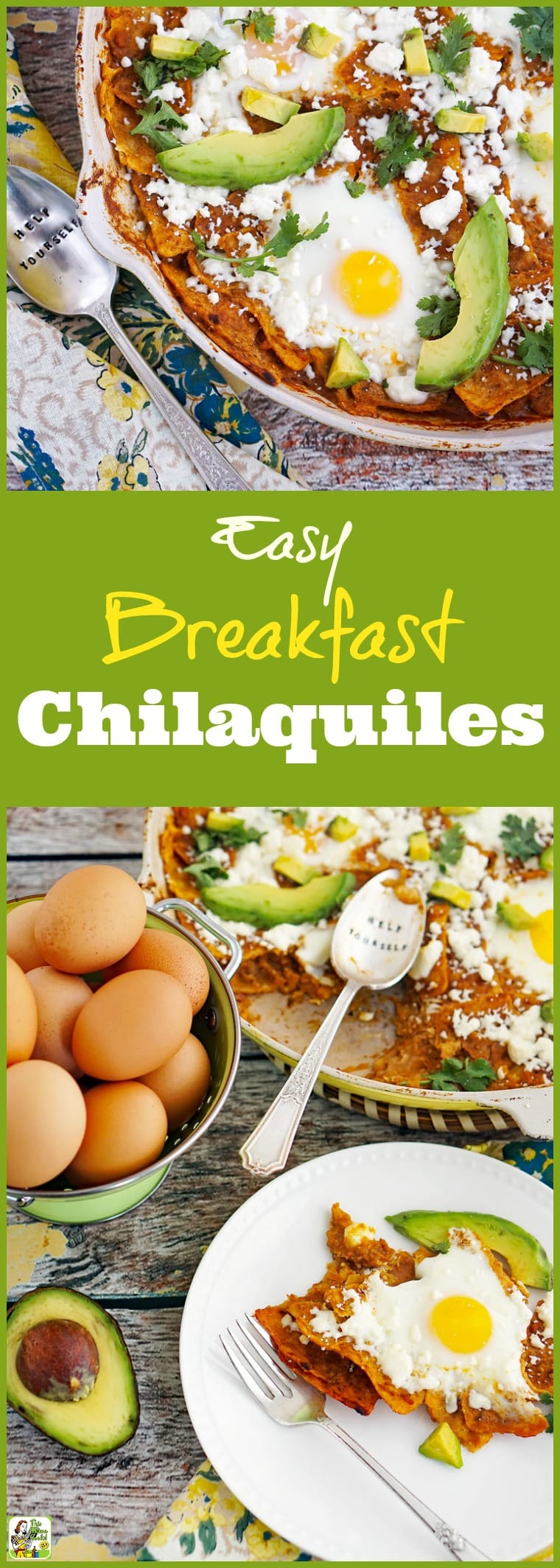This easy breakfast chilaquiles recipe with eggs makes a terrific brinner recipe, too. Click to get this one-pot skillet breakfast recipe that\'s naturally gluten-free. #breakfast #eggs #chilaquiles #mexicanfood #glutenfree #skilletcooking #onepot #avocados #brinner #chorizo #recipe #easy #recipeoftheday #healthyrecipes #easyrecipes