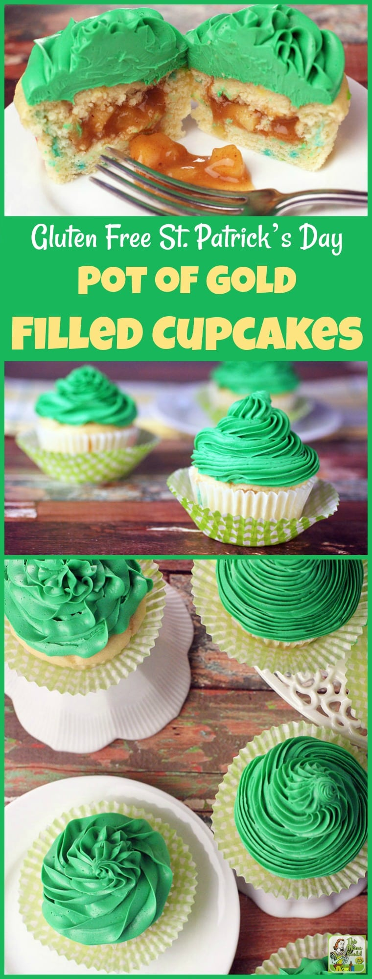 Making this Gluten Free St. Patrick's Day Pot of Gold Filled Cupcakes recipe is easier than you think. This gluten free cupcake recipe uses box mix and frosting from the store. The apple pie filling can be made on your stovetop in less than 30 minutes. Use this cupcake filing technique for other holidays besides St. Patrick\'s Day when you need a fun gluten-free dessert! #stpatricksday #glutenfree #applepiefilling #baking #bakingrecipes #cupcakes #cupcakerecipes #cupcakerecipeseasy #dessert...