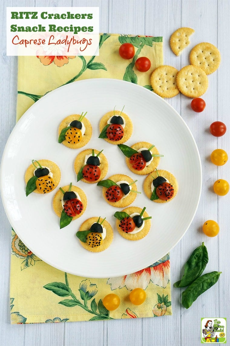 Looking for easy RITZ Crackers Snack Recipes? Click to try these Caprese Ladybugs. This easy snack recipe makes a fun afterschool snack or a cute brunch or party appetizer.