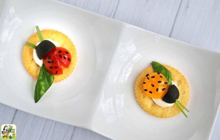 RITZ Crackers Snack Recipes: Caprese Ladybugs
