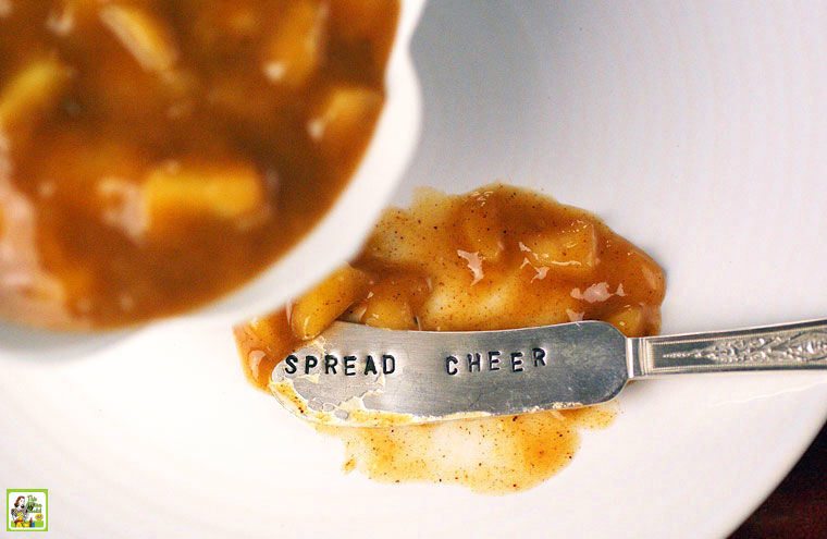 A Soread Cheer serving knife with apple filling on a white plate.