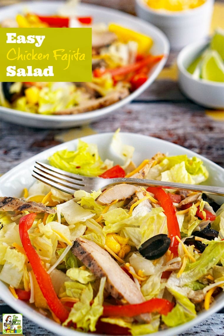 How to Make an Easy Chicken Fajita Salad. This recipe for chicken fajita salad can be made into fajita wraps, too. Click to get this easy salad recipe.
