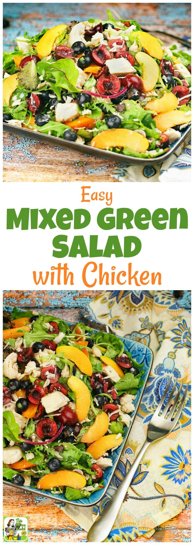 Too hot to cook? This Easy Mixed Green Salad with Chicken recipe makes a satisfying weeknight meal. There\'s no cooking since it uses canned chicken breast. Click to get this healthy mixed green salad with chicken recipe that takes under 20 minutes to make, is easy to prepare, and uses seasonal fruits, too. #chicken #salad #easy #recipe #chicken #healthyrecipe #chickensalad #salad #glutenfree #dinner #healthyrecipes #recipeoftheday #easydinner #nocook #chickenrecipe