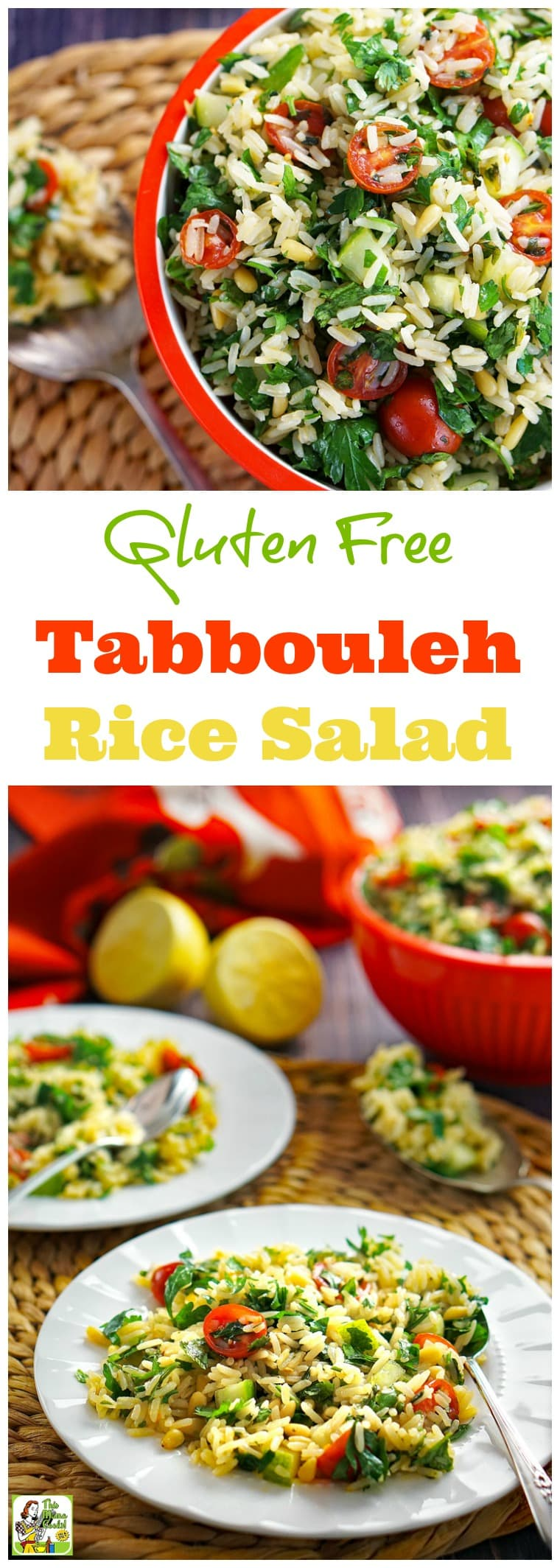 Love tabbouleh but can\'t eat couscous? You have to try this Gluten Free Tabbouleh Recipe. Click to get this rice salad recipe. This easy-to-make side salad recipe is goes great with grilled food. Serve it at your next BBQ party or bring it to a potluck.