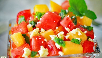 This Watermelon and Cantaloupe Salad is perfect for summer entertaining!