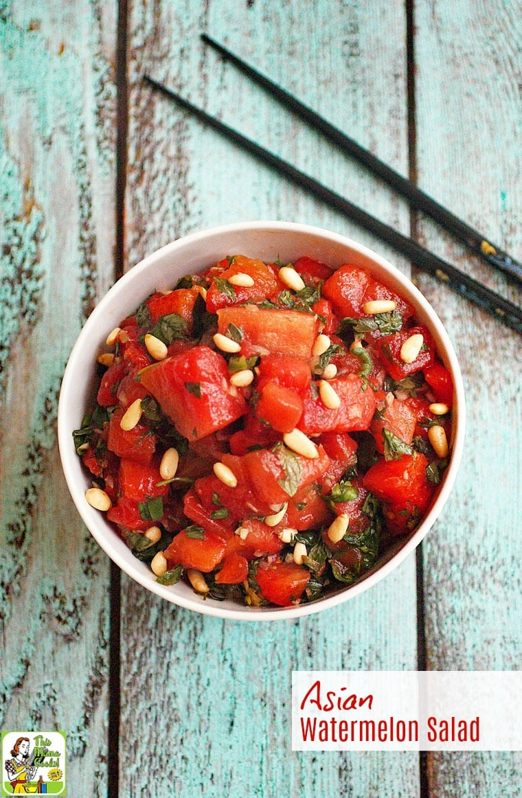 Looking for a healthy watermelon salad recipe to serve at your next cookout? Click to get this Asian Watermelon Salad recipe! It's naturally gluten free, nut free, vegan, and vegetarian.