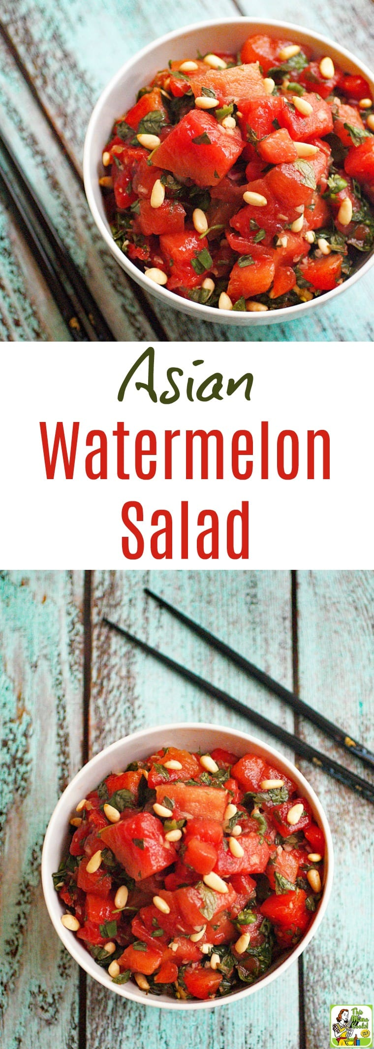 Looking for an easy to make and healthy watermelon salad recipe to serve at your next cookout? Click to get this Asian Watermelon Salad recipe! This Thai inspired watermelon fruit salad recipe is naturally gluten free, nut free, vegan, and vegetarian. #vegan #vegetarian #asian #watermelon #salad #easyrecipe #healthyrecipe #fruitsalad #glutenfree #nutfree
