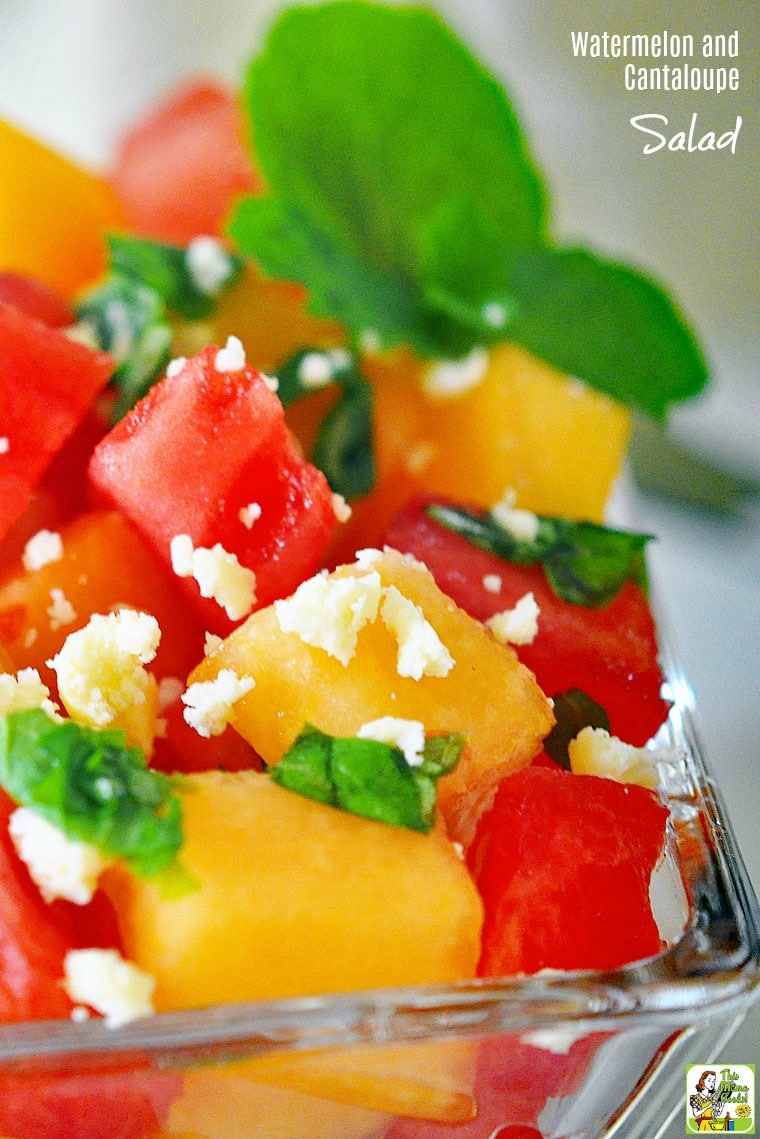 This Watermelon and Cantaloupe Salad recipe is ideal for summer entertaining. Click to get this naturally gluten free, diabetic friendly, and vegetarian fruit salad recipe.