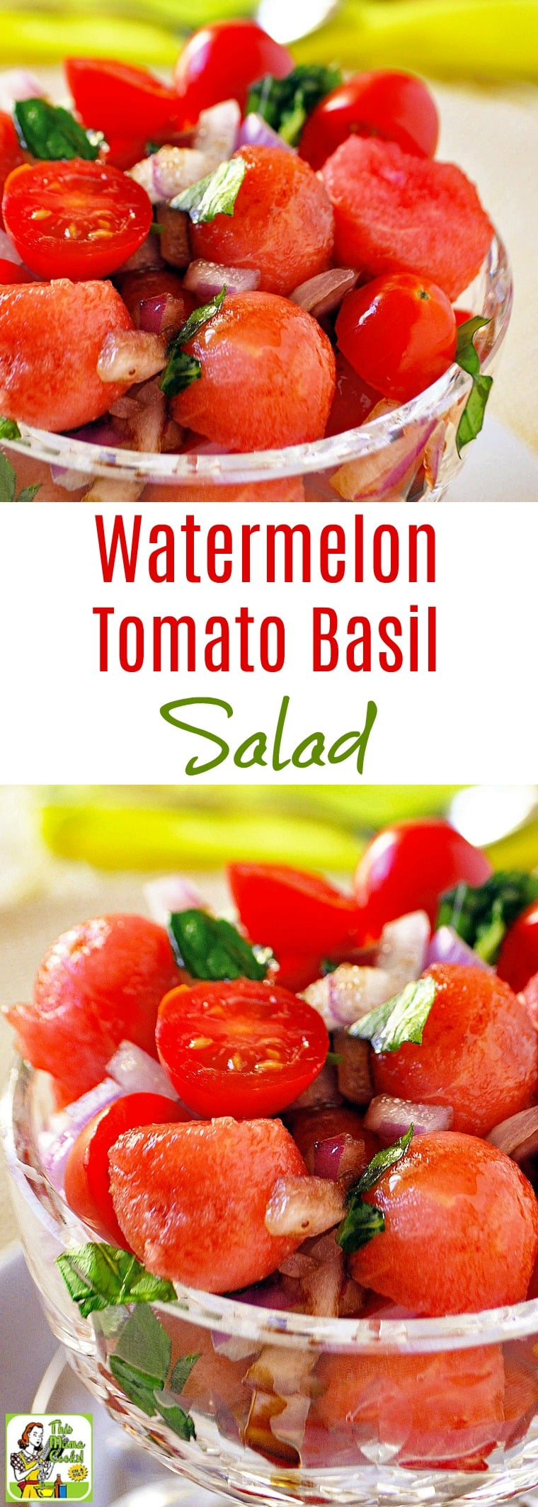This Easy Watermelon Tomato Basil Salad recipe is ideal for summer cookouts or potlucks. This easy to make watermelon and tomato salad is also vegan, vegetarian, dairy-free, and can be made in 20 minutes. #recipes #easy #recipeoftheday #healthyrecipes #glutenfree #easyrecipes #salad #saladrecipes #watermelon #watermelonrecipes #tomatoes #vegetarian #vegan #veganrecipes