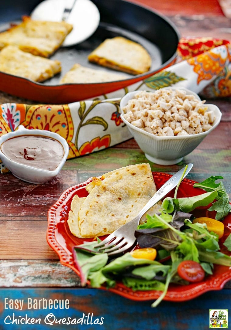 Make this Easy Barbecue Chicken Quesadillas recipe for dinner with a side salad. Click to get this easy chicken quesadillas recipe.