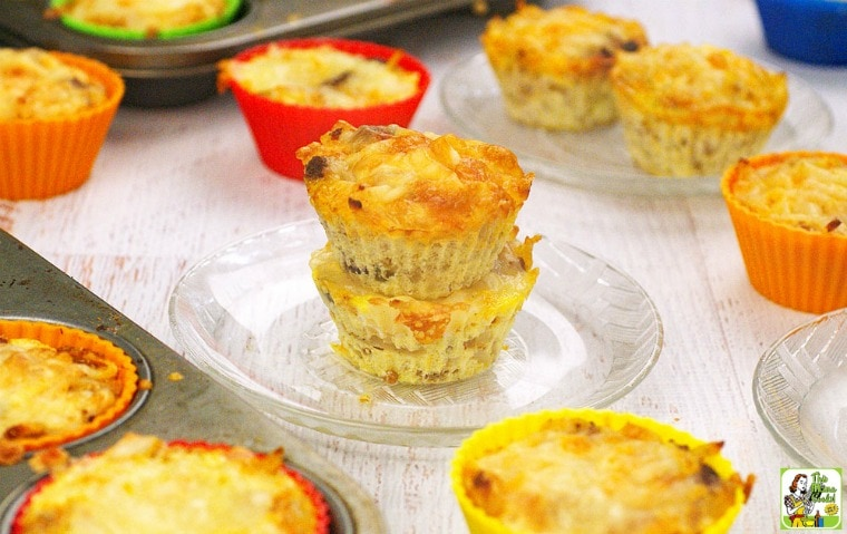 Plates of Hash Brown Sausage Muffins.