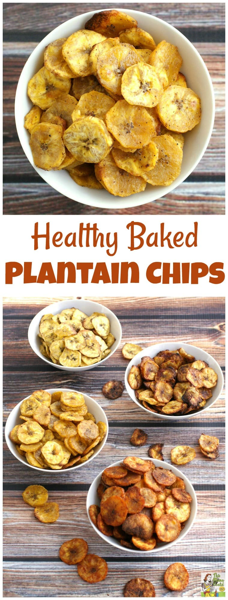 Looking for a healthy party snack? Try this Baked Plantain Chip recipe that you can season four different ways - sweet or savory. Not only is it a healthy snack recipe, it\'s gluten free! #chips #snacks #healthysnacks #healthy #bananas #partysnacks #plantains #baked #snackrecipe #recipe #easy #recipeoftheday #healthyrecipes #glutenfree #easyrecipes #snack