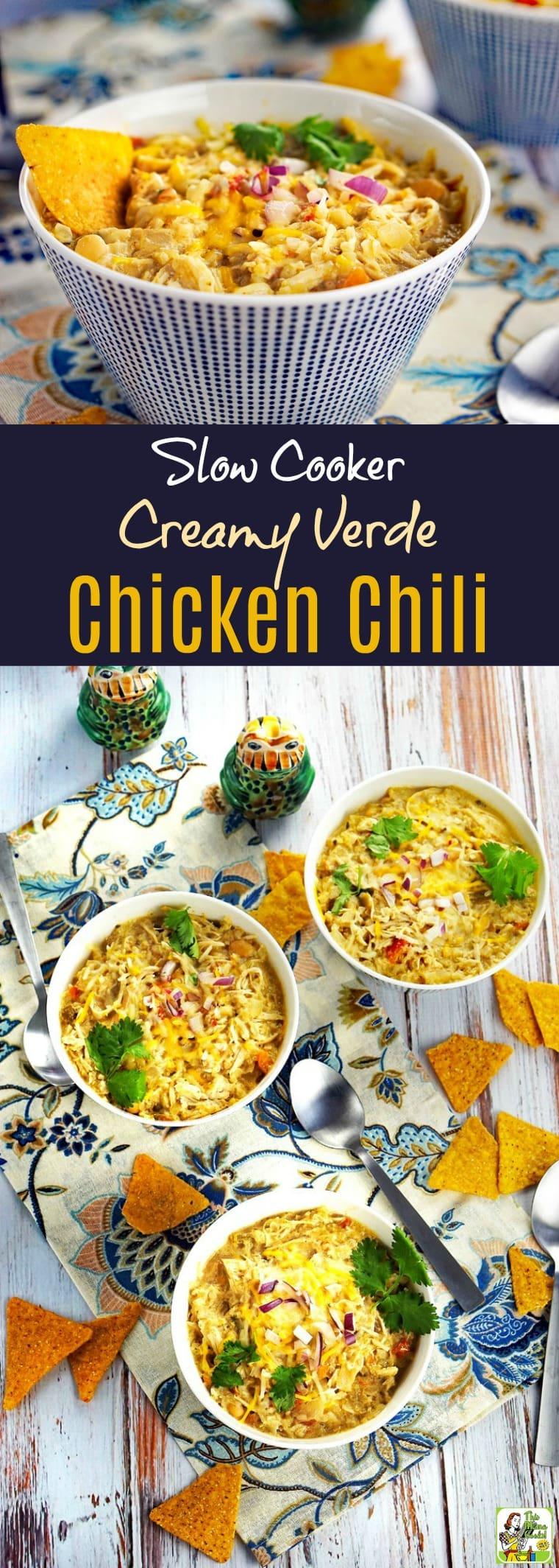 Slow Cooker Creamy Verde Chicken Chili