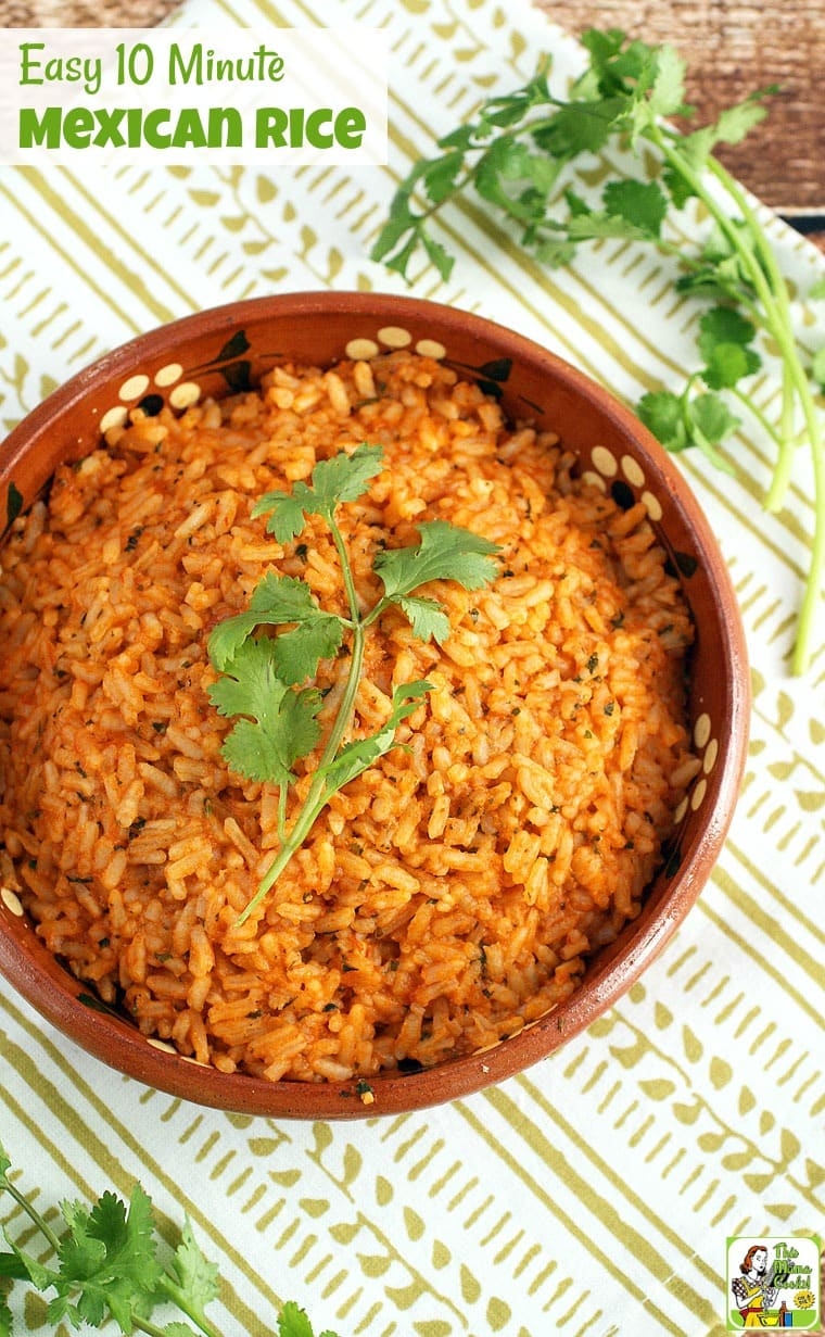 It's not taco night unless you have Mexican restaurant style rice. It's so simple to prepare if you have this Easy 10 Minute Mexican Rice recipe! Can be made gluten free and vegetarian, too! #recipes #recipeoftheday #healthyrecipes #easyrecipe #easyrecipe #mexicanfoodrecipes #ricerecipes #vegetarian #copycatrecipes #mexicanrice #mexicanricerecipes #taconight #tacotuesdayrecipes #taconightrecipes