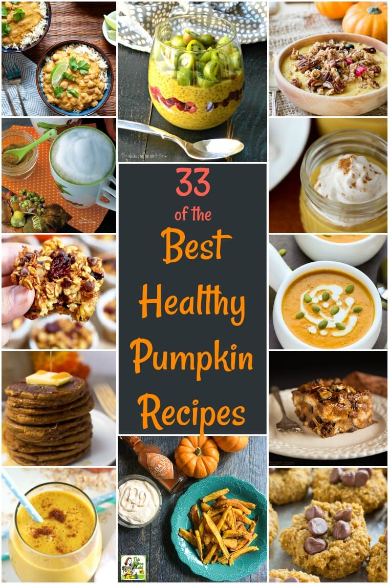 33 of the Best Healthy Pumpkin Recipes: these healthy fall recipes feature vegan, sugar free, low carb, gluten free, dairy free, and paleo pumpkin recipes. Healthy pumpkin recipes include drinks, breads, entrees, side dishes, soups, and dips. You\'ll find links to healthy pumpkin desserts, healthy pumpkin soup recipes, healthy pumpkin muffin recipes, and more. #healthyrecipes #glutenfreerecipes #veganrecipes #pumpkindessert #pumpkinrecipe #pumpkinspice #dairyfree