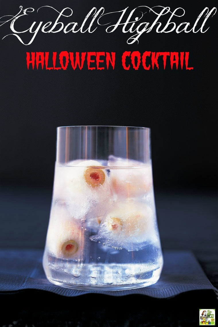 """This Halloween Martini is a spooky highball drink recipe that says, """"Here's looking at you, kid!"""" Comes with tips for making Halloween drinks for kids and Creepy Frozen Eyeballs made from radishes stuffed with pimiento-stuffed olives. #halloween #halloweenparty #cocktails #drinks #drinking #drinkrecipes #alcohol #vodka #martini #mocktail #nonalcoholic #partyideas"""