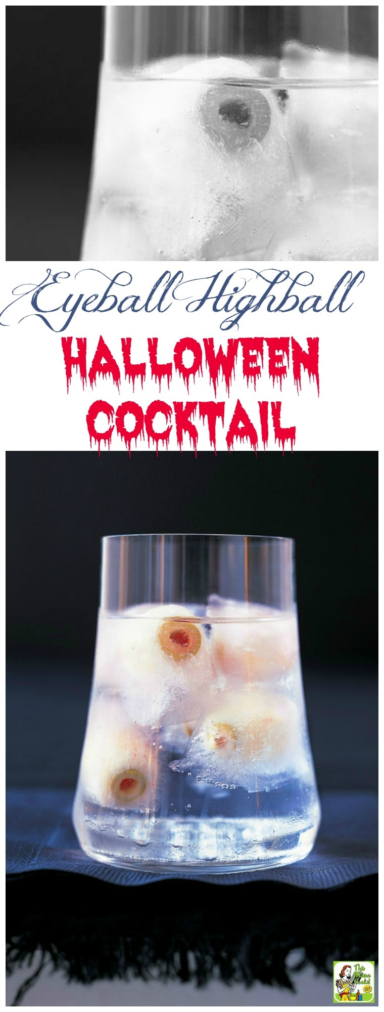 "This Halloween Martini is a spooky highball drink recipe that says, ""Here's looking at you, kid!"" It comes with tips for making Halloween drinks for kids and Creepy Frozen Eyeballs made from radishes stuffed with pimiento-stuffed olives. #halloween #halloweenparty #cocktails #drinks #drinking #drinkrecipes #alcohol #vodka #martini #mocktail #nonalcoholic #partyideas"