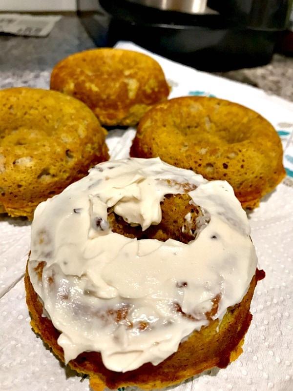 healthy pumpkin desserts: a plate of Protein Pumpkin Donuts