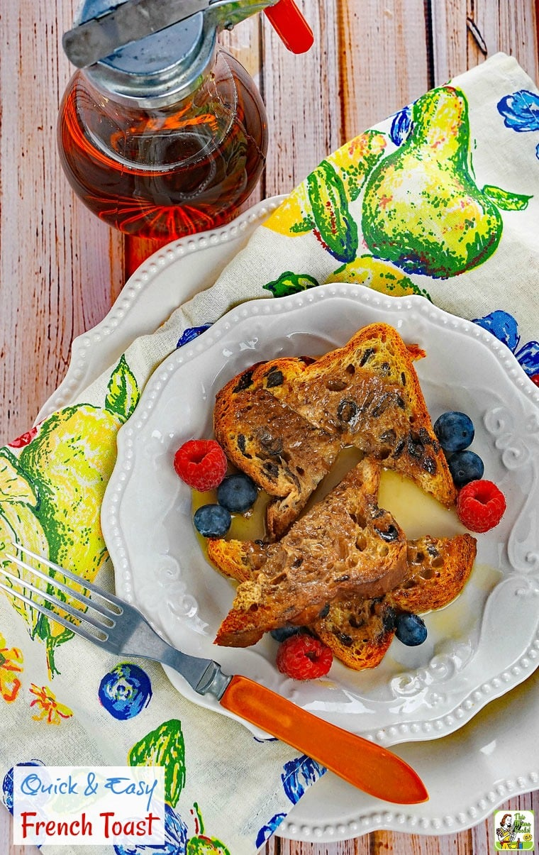 Make this Quick & Easy French Toast recipe on busy weekday mornings. No need for a frying pan with this no-cook recipe. It uses no milk or eggs, too!