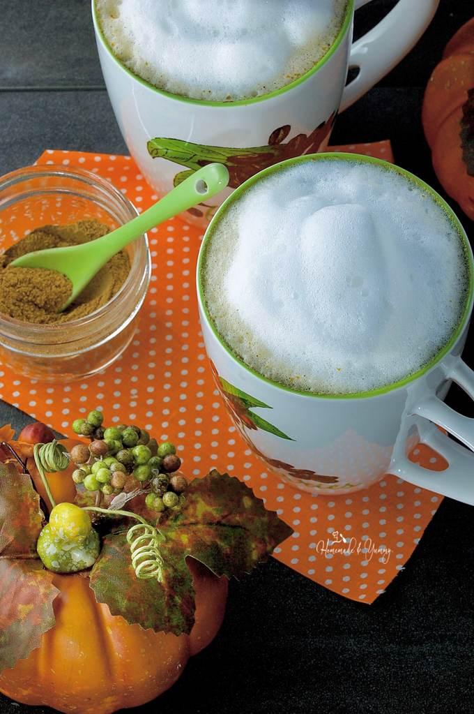 healthy pumpkin recipes: a mug of Real Pumpkin Latte Made Our Way